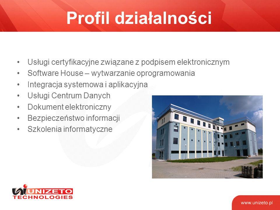 Profil działalności Usługi certyfikacyjne związane z podpisem elektronicznym. Software House – wytwarzanie oprogramowania.