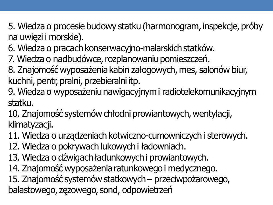 5. Wiedza o procesie budowy statku (harmonogram, inspekcje, próby na uwięzi i morskie).