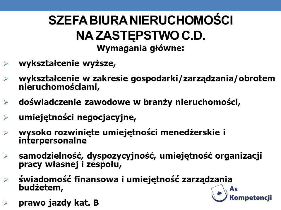 SZEFA BIURA NIERUCHOMOŚCI NA ZASTĘPSTWO c.d.