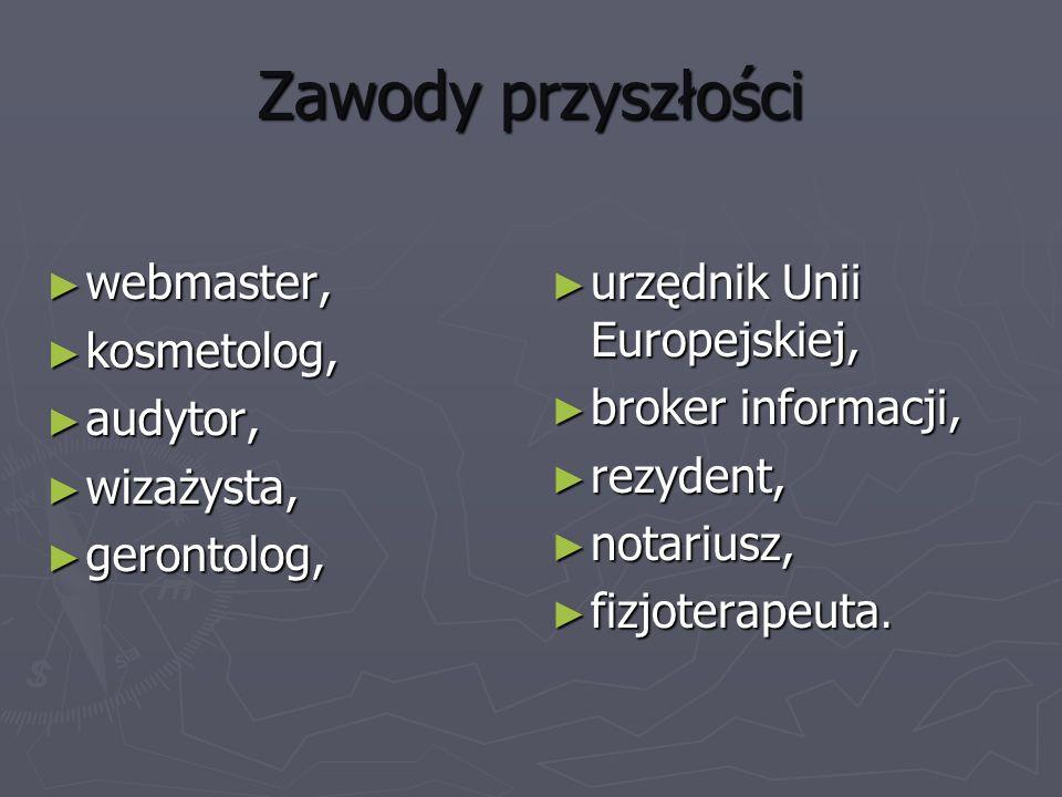 Zawody przyszłości webmaster, kosmetolog, audytor, wizażysta,