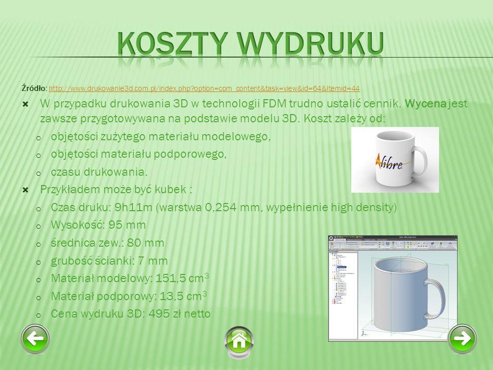 Koszty Wydruku Źródło: http://www.drukowanie3d.com.pl/index.php option=com_content&task=view&id=64&Itemid=44.