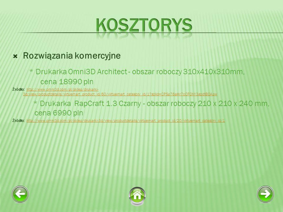 Kosztorys Rozwiązania komercyjne. * Drukarka Omni3D Architect - obszar roboczy 310x410x310mm, cena 18990 pln.