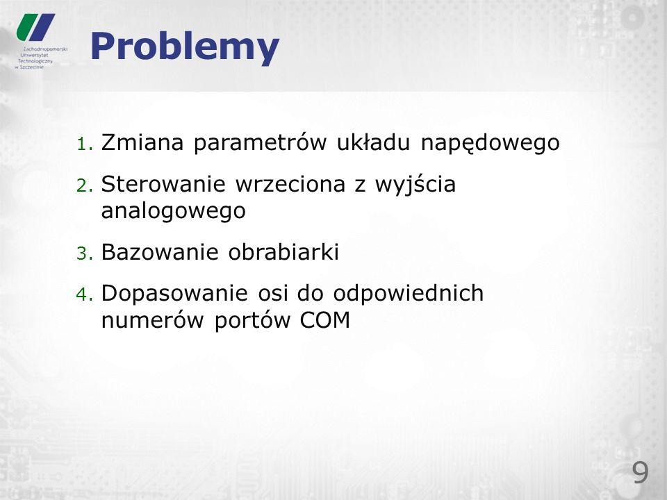 Problemy Zmiana parametrów układu napędowego