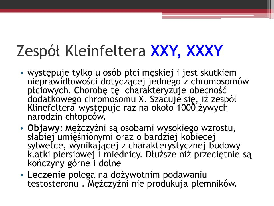 Zespół Kleinfeltera XXY, XXXY