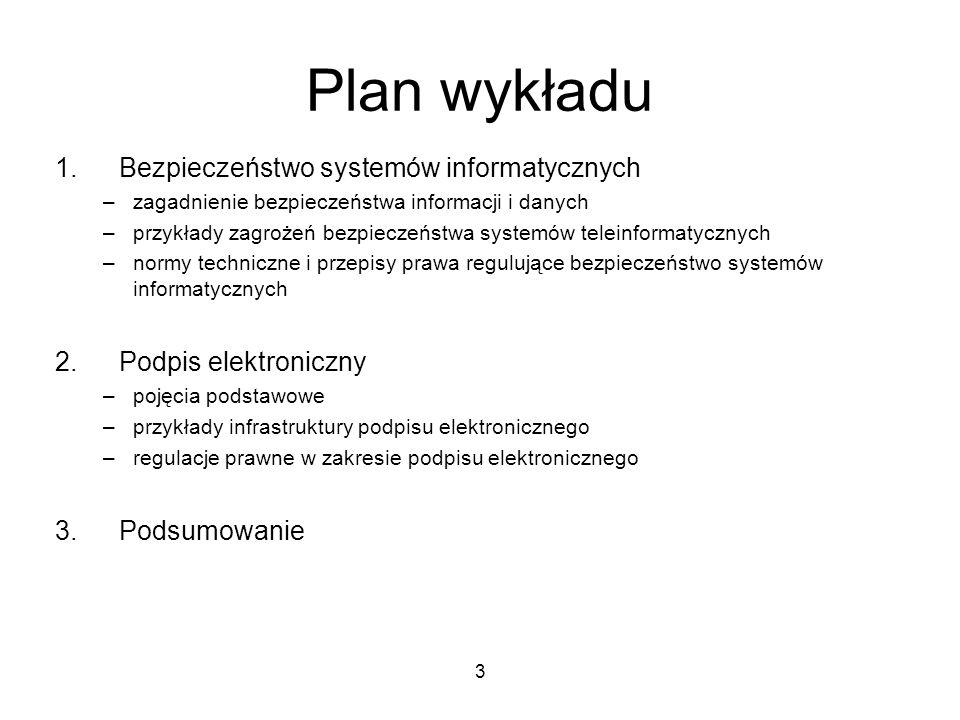 Plan wykładu Bezpieczeństwo systemów informatycznych