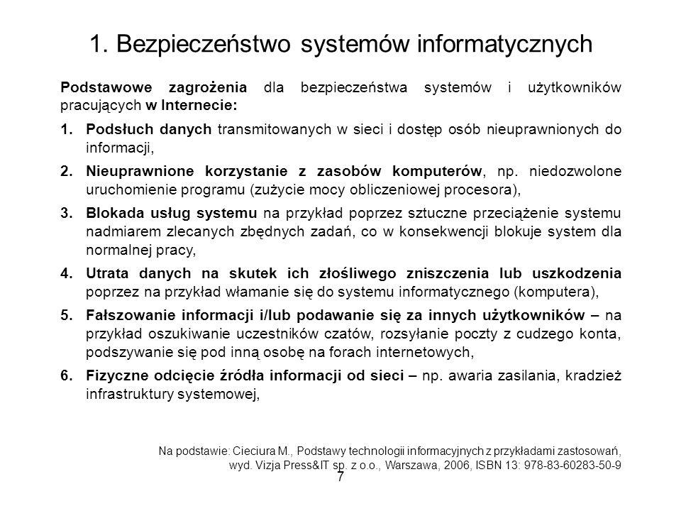 1. Bezpieczeństwo systemów informatycznych