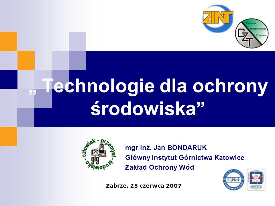""""""" Technologie dla ochrony środowiska"""