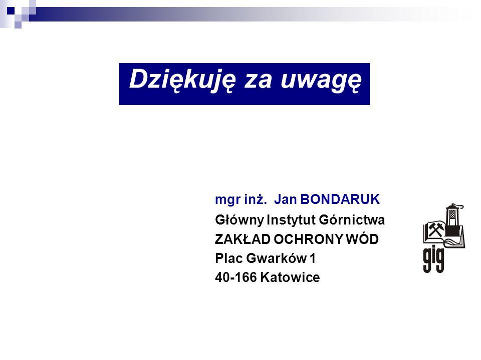 Dziękuję za uwagę mgr inż. Jan BONDARUK Główny Instytut Górnictwa