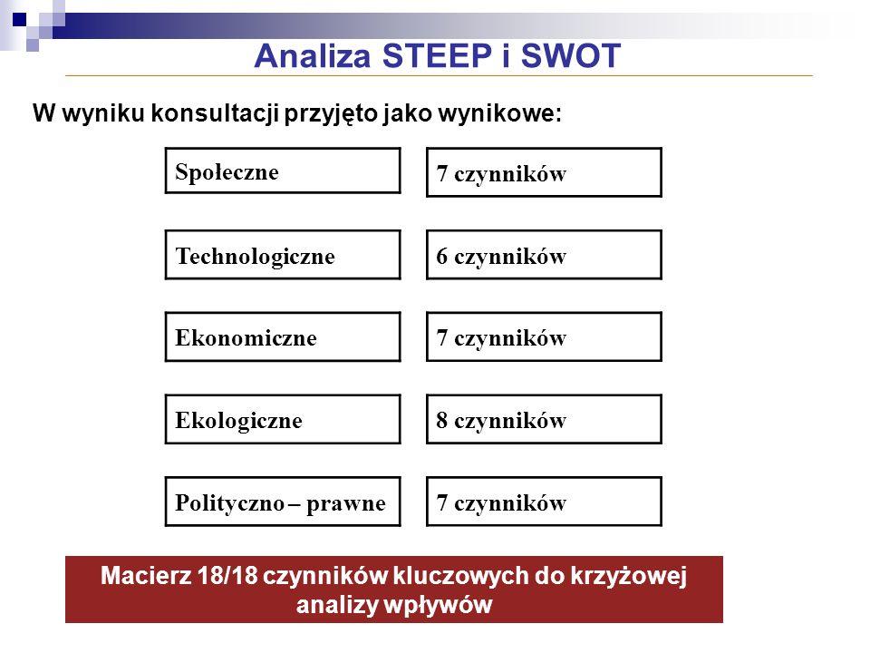 Macierz 18/18 czynników kluczowych do krzyżowej analizy wpływów