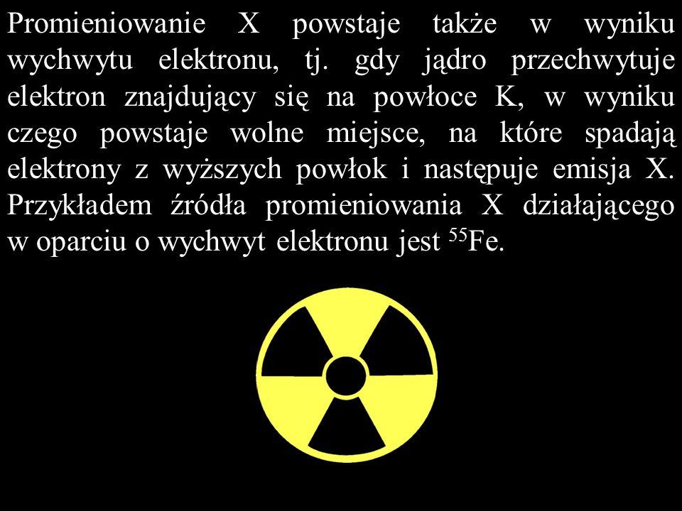 Promieniowanie X powstaje także w wyniku wychwytu elektronu, tj