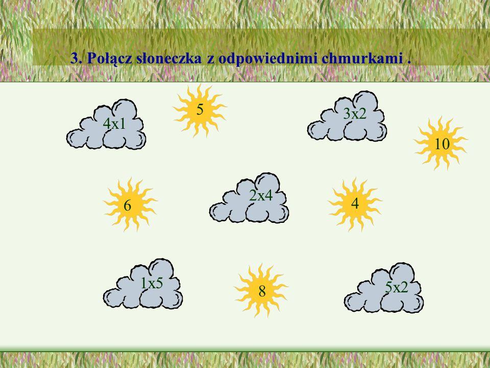 3. Połącz słoneczka z odpowiednimi chmurkami .
