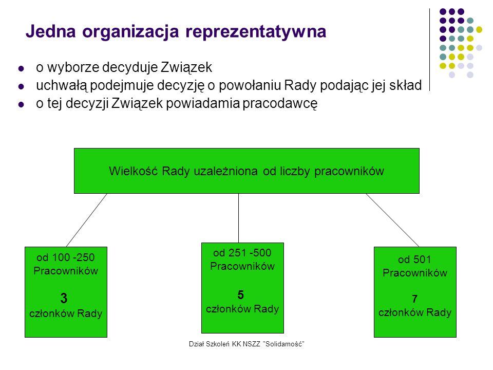 Jedna organizacja reprezentatywna