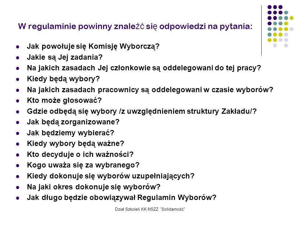 W regulaminie powinny znaleźć się odpowiedzi na pytania: