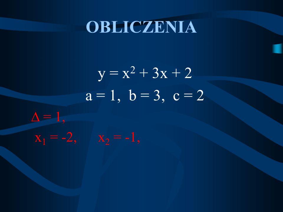 OBLICZENIA y = x2 + 3x + 2 a = 1, b = 3, c = 2  = 1,