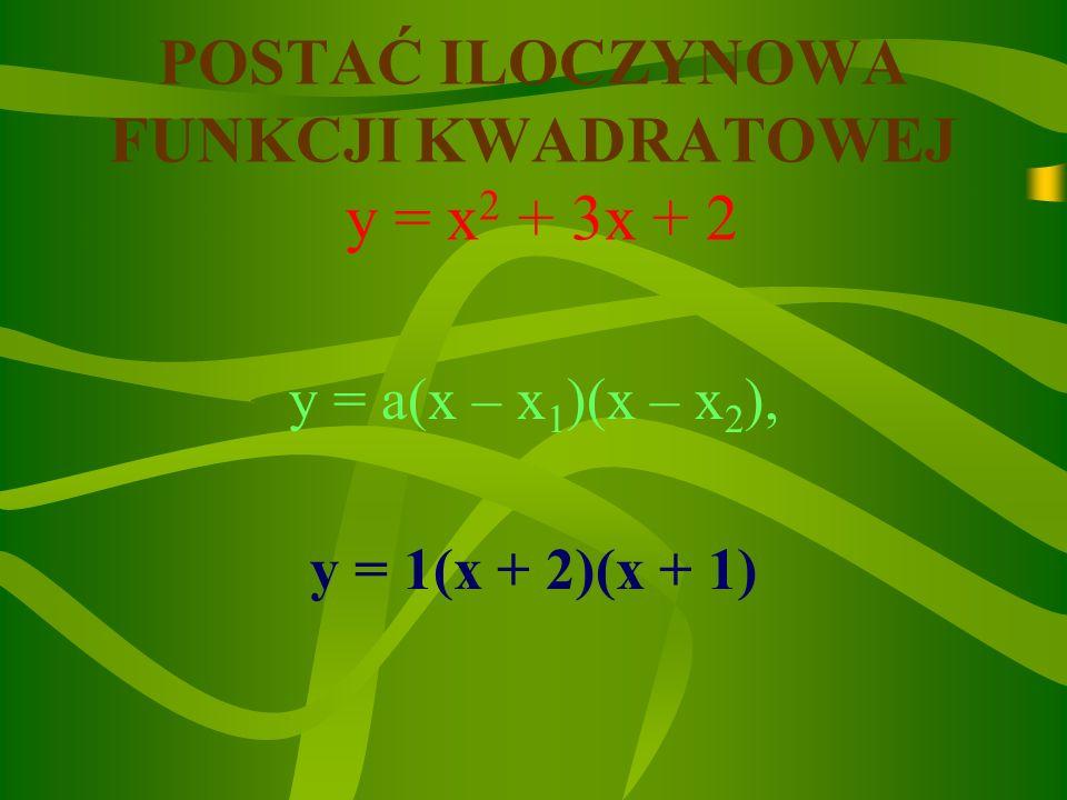 POSTAĆ ILOCZYNOWA FUNKCJI KWADRATOWEJ y = x2 + 3x + 2
