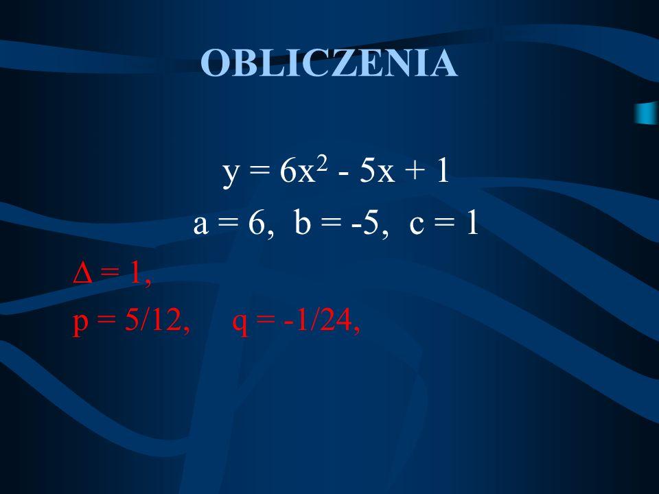 OBLICZENIA y = 6x2 - 5x + 1 a = 6, b = -5, c = 1  = 1,