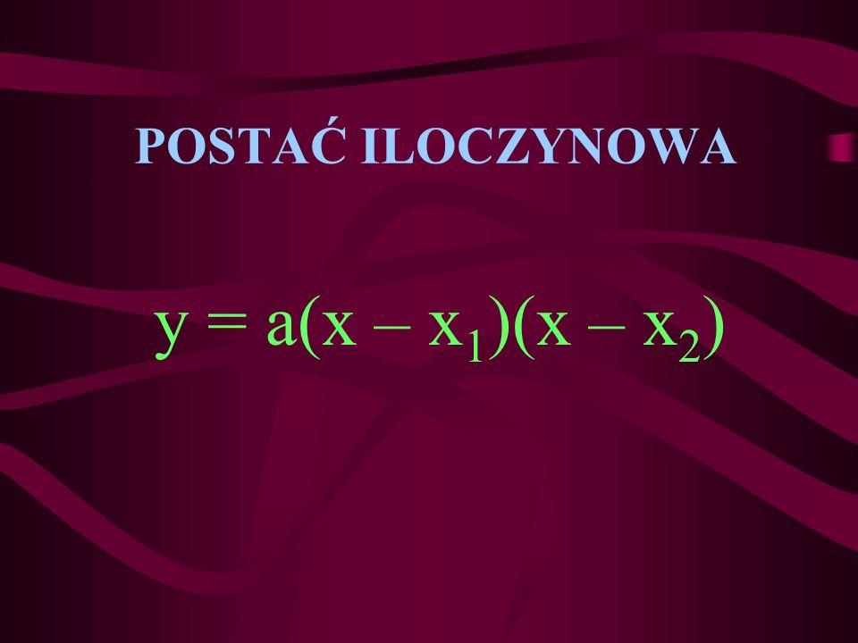 POSTAĆ ILOCZYNOWA y = a(x – x1)(x – x2)