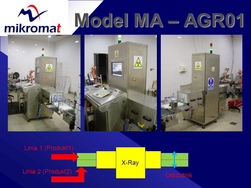 Model MA – AGR01 Linia 1 (Produkt1) X-Ray Linia 2 (Produkt2) Odrzutnik