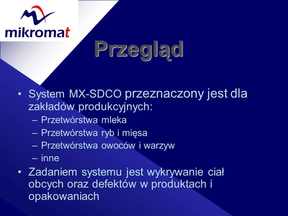 Przegląd System MX-SDCO przeznaczony jest dla zakładów produkcyjnych: