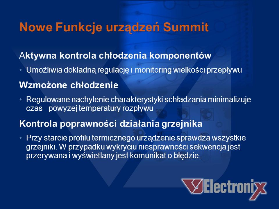 Nowe Funkcje urządzeń Summit