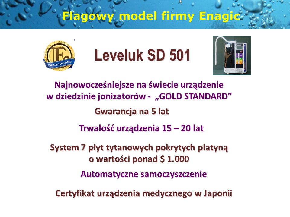 Leveluk SD 501 Flagowy model firmy Enagic