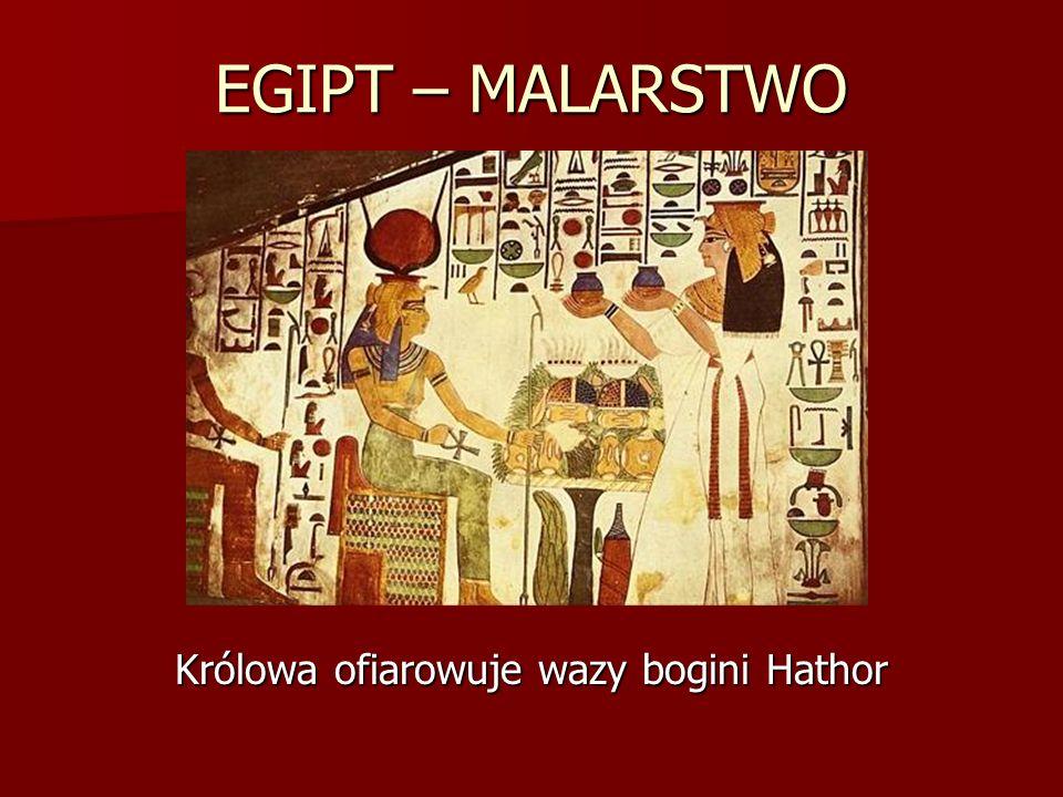 Królowa ofiarowuje wazy bogini Hathor