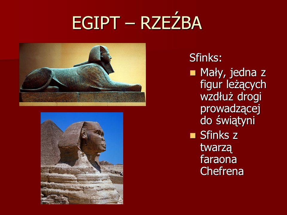 EGIPT – RZEŹBA Sfinks: Mały, jedna z figur leżących wzdłuż drogi prowadzącej do świątyni.