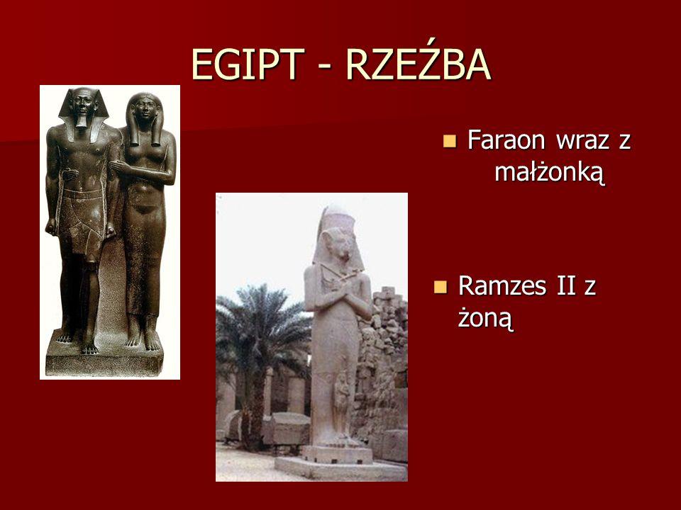 EGIPT - RZEŹBA Faraon wraz z małżonką Ramzes II z żoną