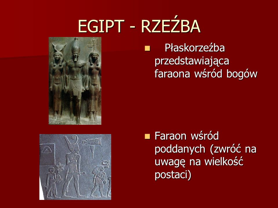 EGIPT - RZEŹBA Płaskorzeźba przedstawiająca faraona wśród bogów