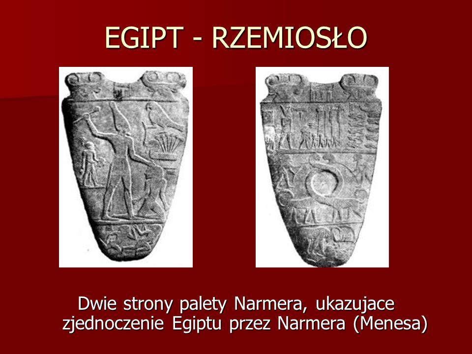 EGIPT - RZEMIOSŁO Dwie strony palety Narmera, ukazujace zjednoczenie Egiptu przez Narmera (Menesa)