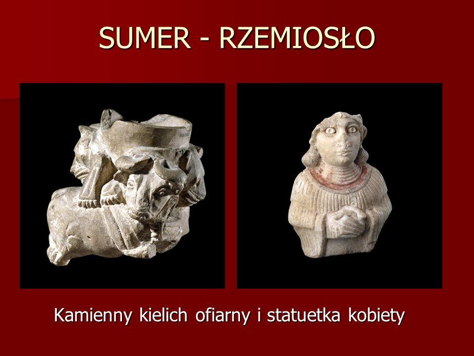 Kamienny kielich ofiarny i statuetka kobiety