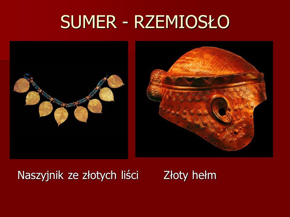 SUMER - RZEMIOSŁO Naszyjnik ze złotych liści Złoty hełm