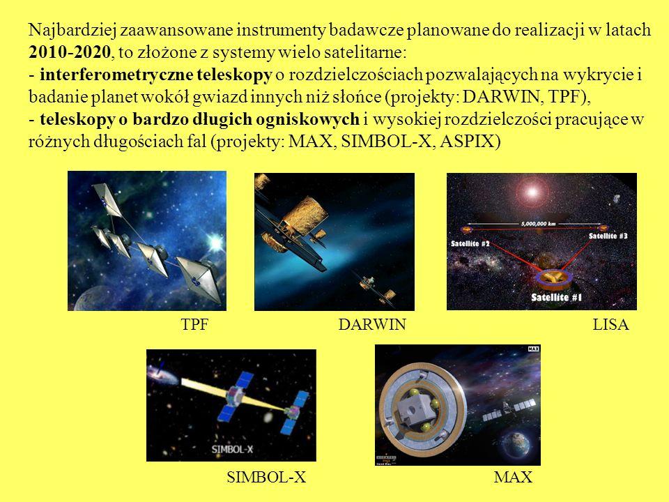 Najbardziej zaawansowane instrumenty badawcze planowane do realizacji w latach 2010-2020, to złożone z systemy wielo satelitarne: