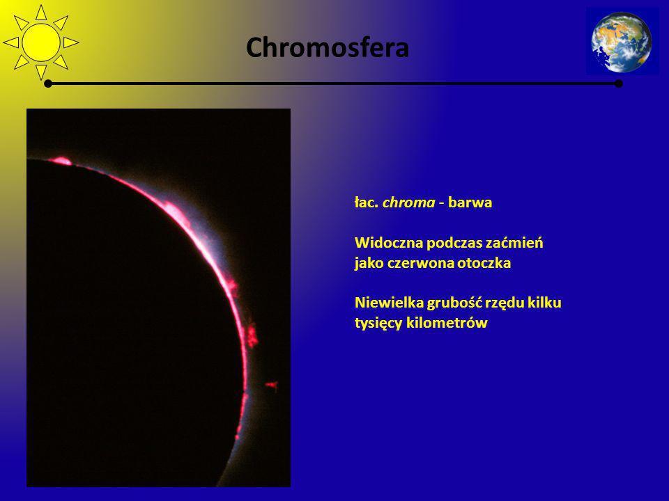 Chromosfera łac. chroma - barwa Widoczna podczas zaćmień