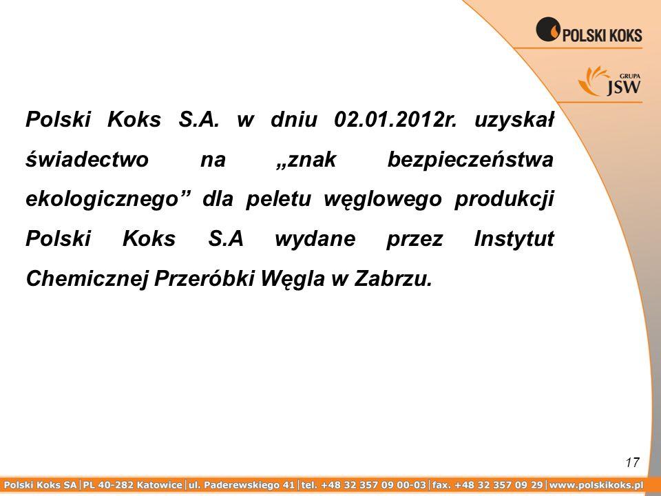 Polski Koks S.A. w dniu 02.01.2012r.