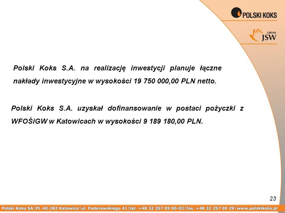 Polski Koks S.A. na realizację inwestycji planuje łączne nakłady inwestycyjne w wysokości 19 750 000,00 PLN netto.