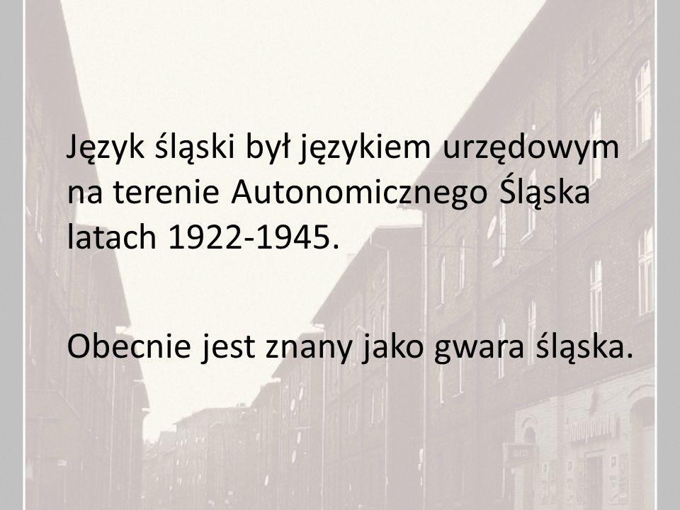 Język śląski był językiem urzędowym na terenie Autonomicznego Śląska latach 1922-1945.