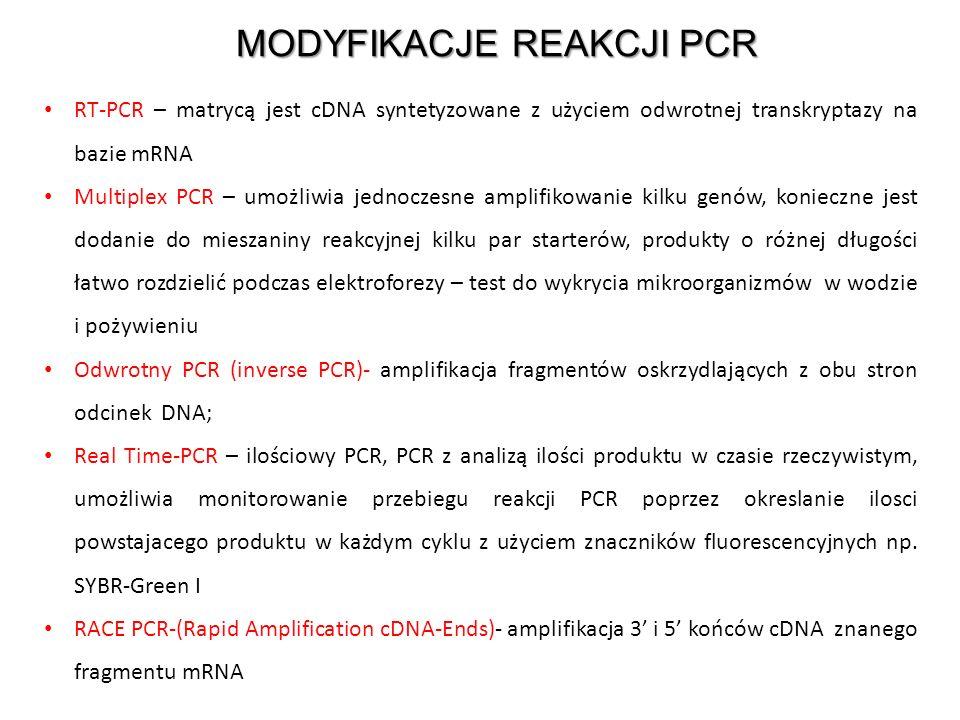 MODYFIKACJE REAKCJI PCR