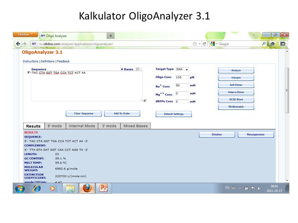 Kalkulator OligoAnalyzer 3.1
