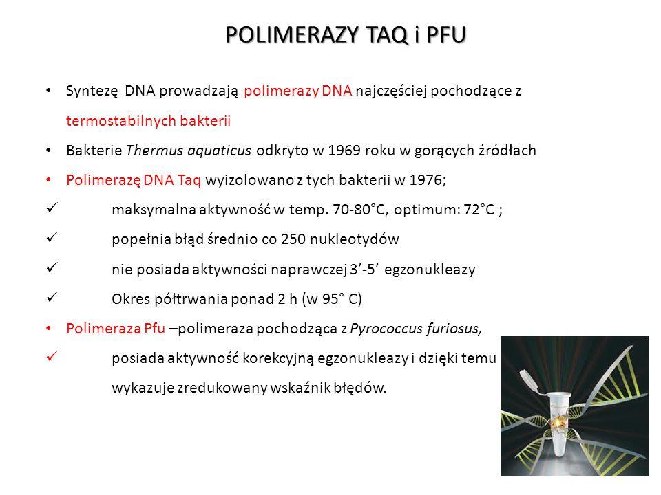 POLIMERAZY TAQ i PFU Syntezę DNA prowadzają polimerazy DNA najczęściej pochodzące z termostabilnych bakterii.