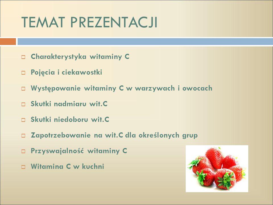 TEMAT PREZENTACJI Charakterystyka witaminy C Pojęcia i ciekawostki