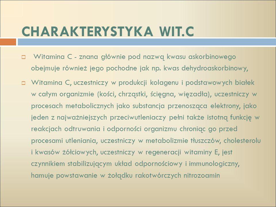 CHARAKTERYSTYKA WIT.C Witamina C - znana głównie pod nazwą kwasu askorbinowego obejmuje również jego pochodne jak np. kwas dehydroaskorbinowy,