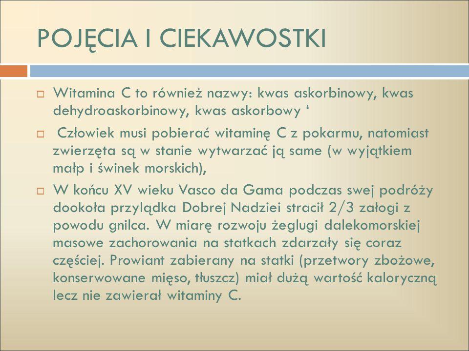 POJĘCIA I CIEKAWOSTKI Witamina C to również nazwy: kwas askorbinowy, kwas dehydroaskorbinowy, kwas askorbowy '
