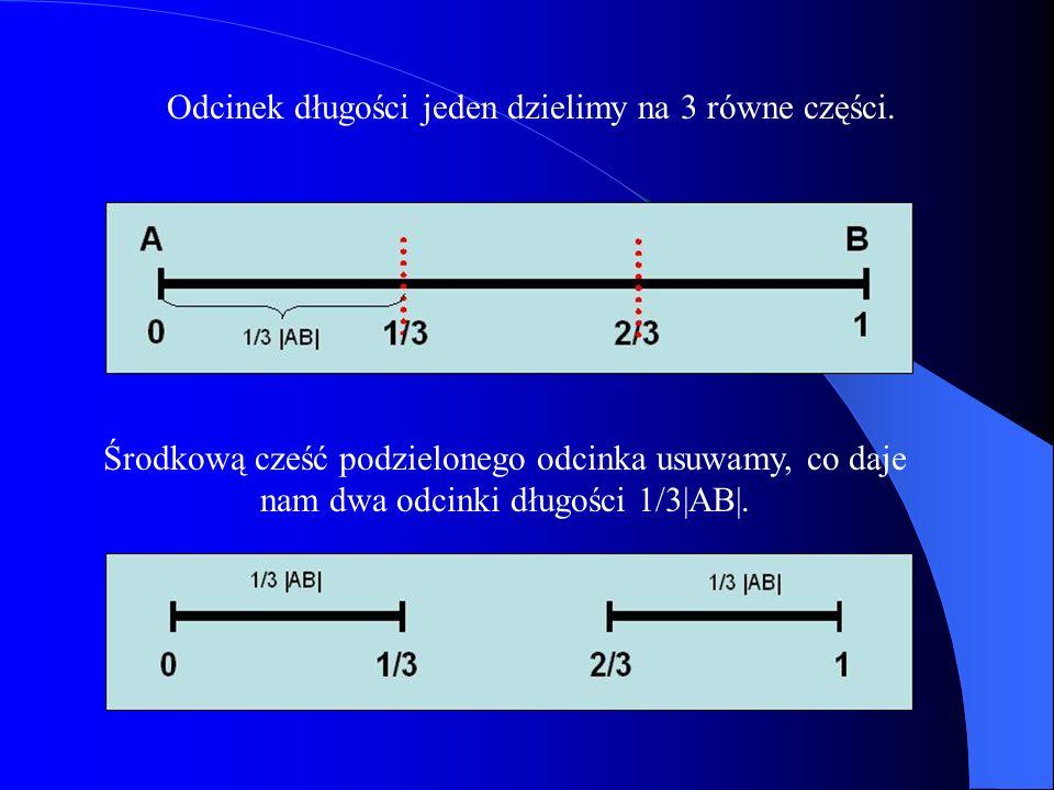 Odcinek długości jeden dzielimy na 3 równe części.