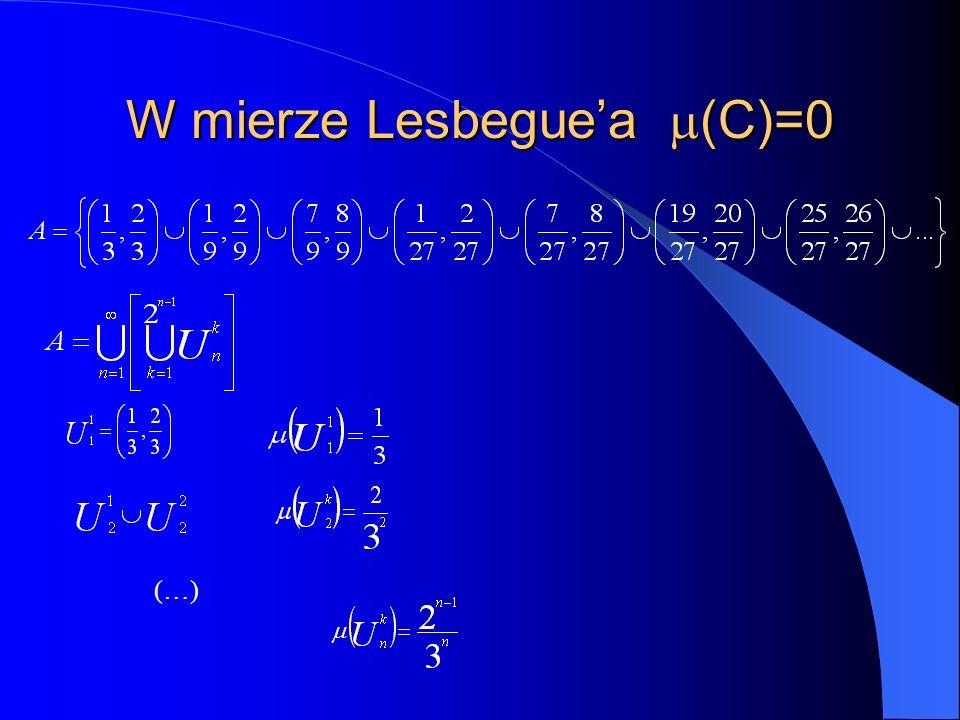 W mierze Lesbegue'a (C)=0