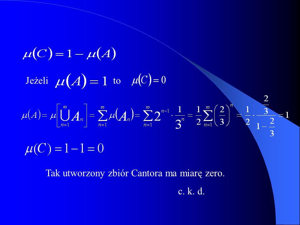 Jeżeli to Tak utworzony zbiór Cantora ma miarę zero. c. k. d.