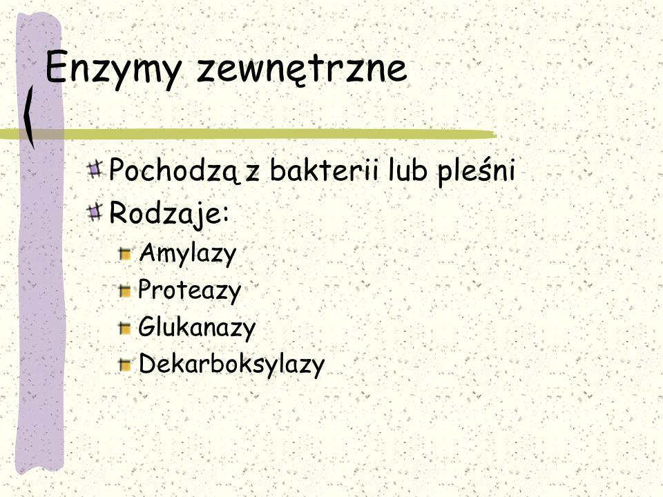 Enzymy zewnętrzne Pochodzą z bakterii lub pleśni Rodzaje: Amylazy
