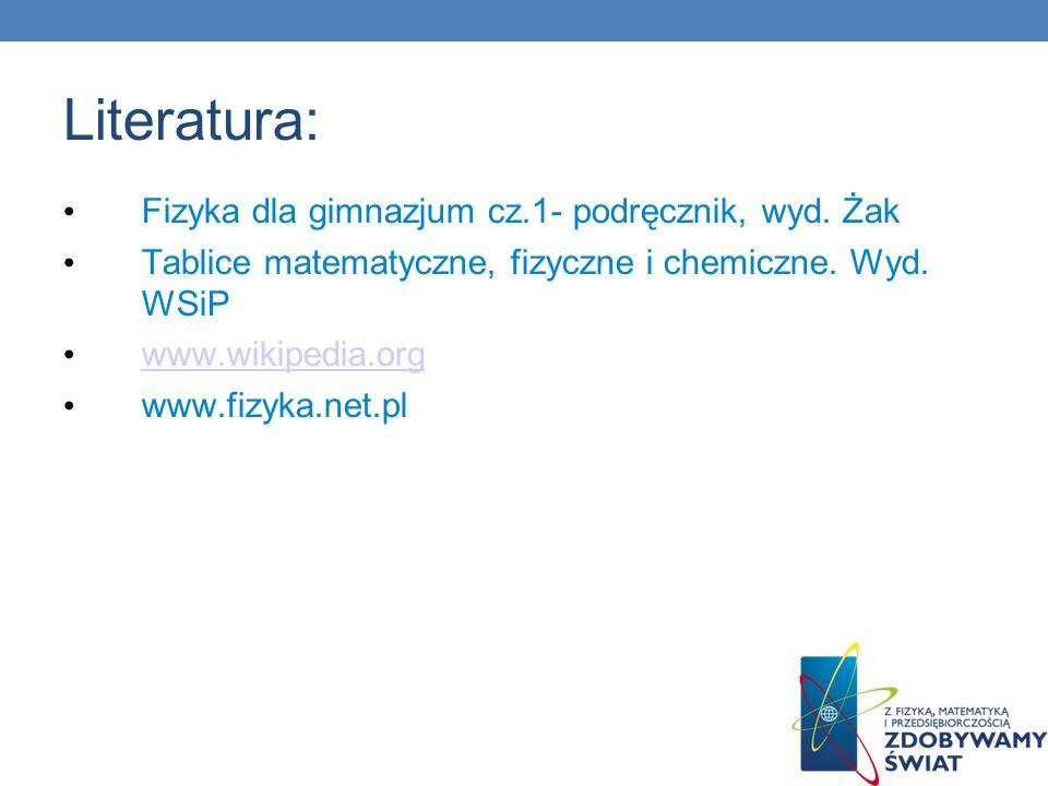 Literatura: Fizyka dla gimnazjum cz.1- podręcznik, wyd. Żak