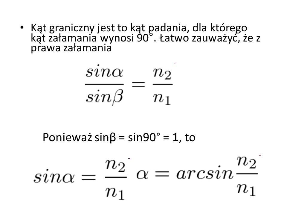 Ponieważ sinβ = sin90° = 1, to