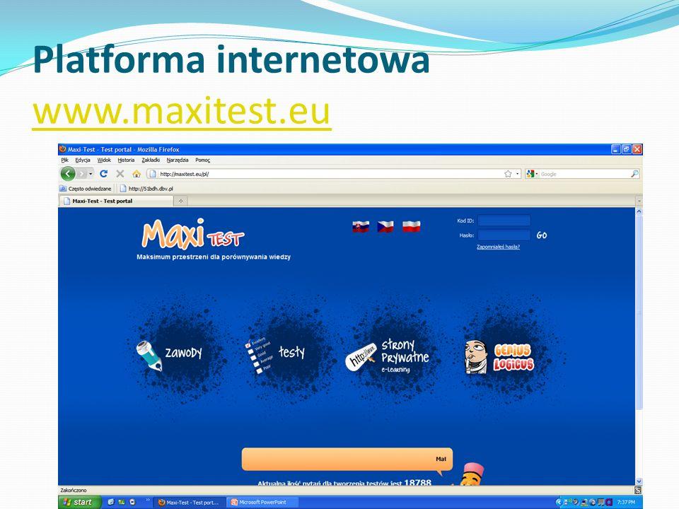 Platforma internetowa www.maxitest.eu